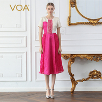 Voa шёлковый вечерние платье Для женщин Красный миди подиумные платья элегантные летние шорты с длинным рукавом милые Kawaii женская одежда