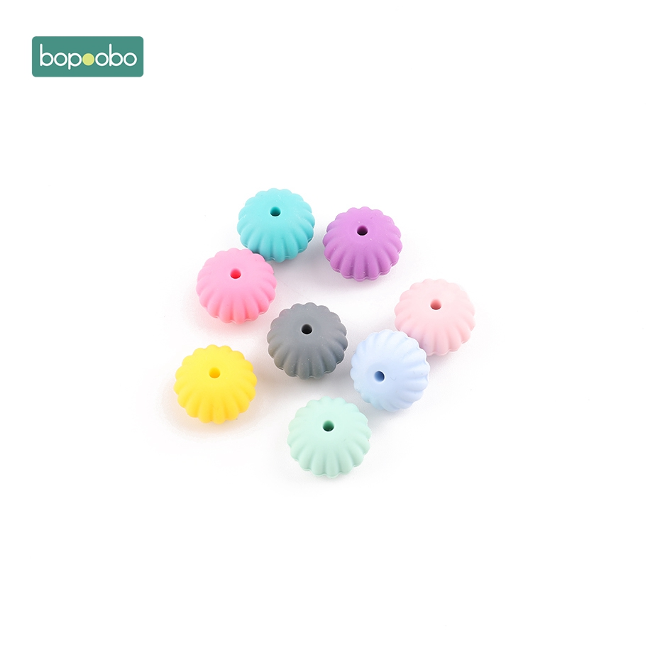 Bopoobo 10PC Silicone Scallop Beads High Quality Organic Teether Teeth Tooth Fixing Device Non-Toxic DIY Crafts Accessories