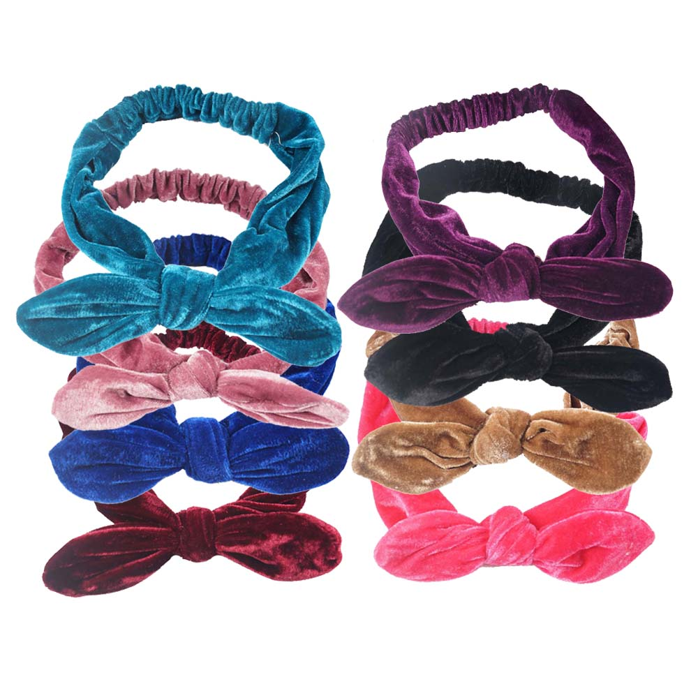 1Pc High Quality Girl Vintage Velvet Elastic Hairband Headwrap Bow Headband For Women Girl Headwear Rabbit Ear Hair Accessories 1 pc women fashion elastic stretch plain rabbit bow style hair band headband turban hairband hair accessories