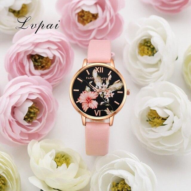 Bracelet Watch Rose Gold Flowers Leather Simple Women Watch 3
