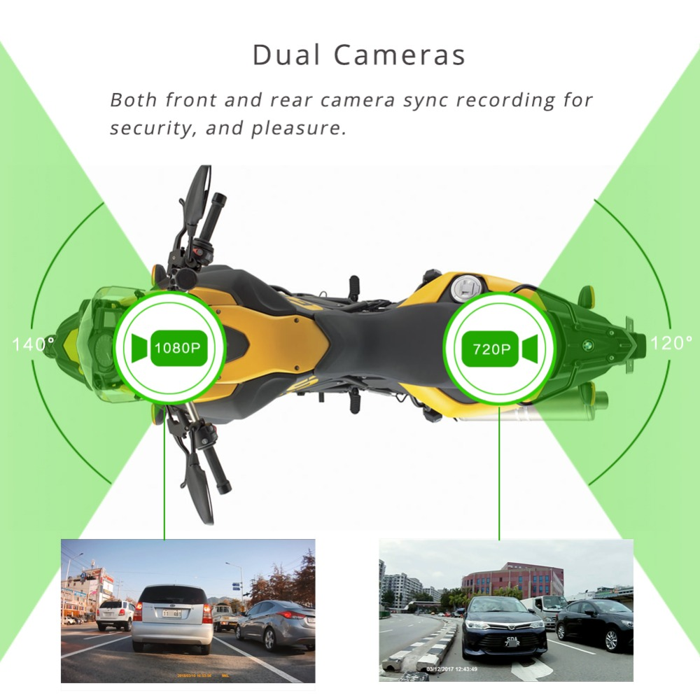 SYS VSYS M6L WiFi de la motocicleta DVR Dash Cam Full HD 1080 P HD + 720 P delantera y trasera vista impermeable motocicleta negro cámara grabadora caja - 3
