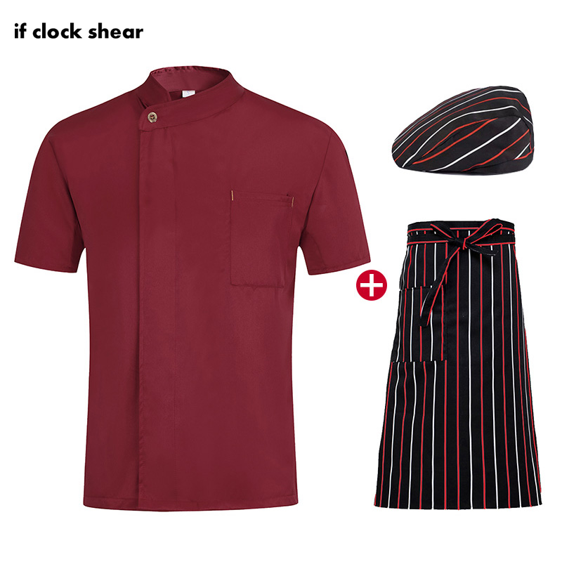 Short Sleeve Chef Work Clothes Single Breasted Chef Restaurant Uniforms Breathable Catering Jacket + Hat + Apron Male And Female