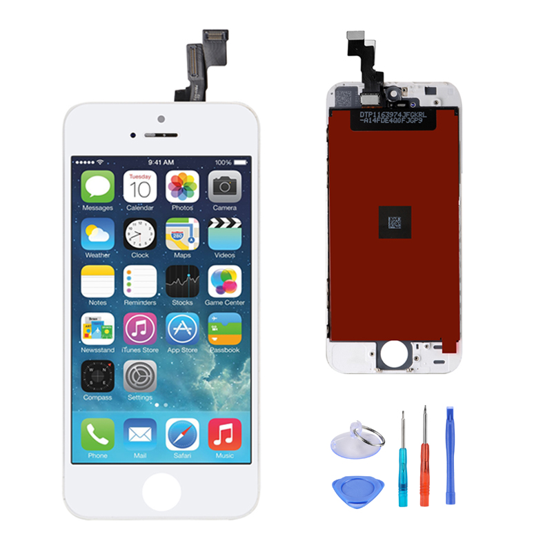 10PCS Black White for iPhone 5S LCD Display Touch Screen Replacement Digitizer Frame Assembly Full Set
