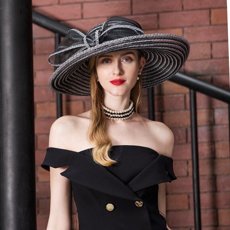 Woman Fedoras Organza Hat Wide Brim Wedding Church Hat Female Floral Summer Wide Brim Floppy Ladies