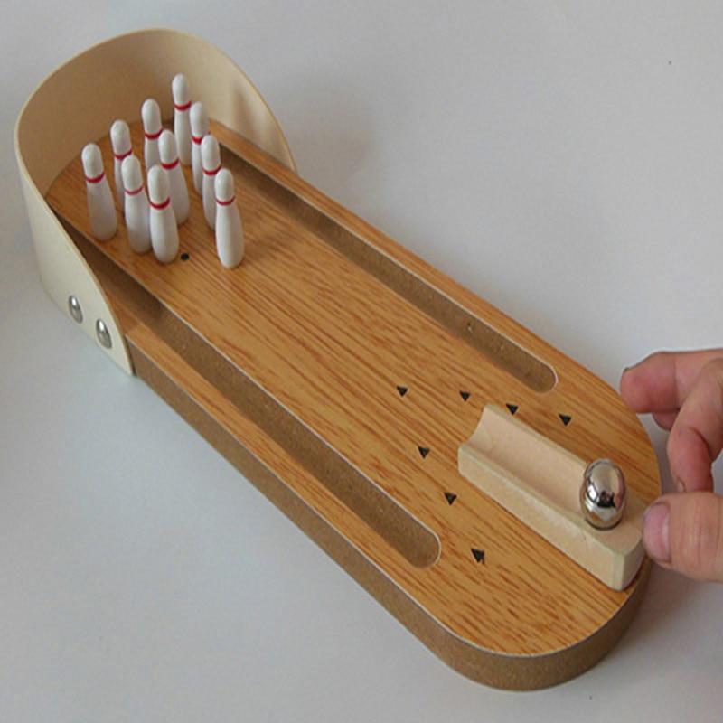 미니 볼링 테이블 게임 나무 어린이 퍼즐 혁신적인 장난감 손가락 장난감