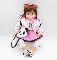 New 2017 Lifelike Reborn Kids Girl 20'' Soft Silicone Baby Dolls Cosplay Panda Handmade DIY Reborns For Sale Birthday Gifts