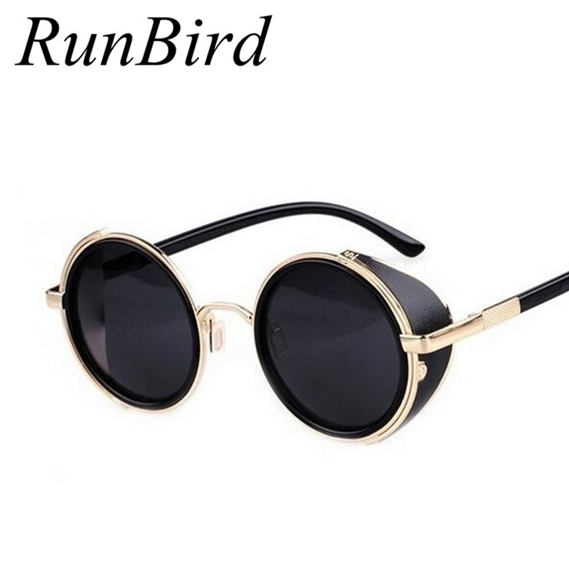2016 Coating Sunglass Steampunk Round Fashion Sunglasses Women Brand Designer Steam Punk Metal Sun Glasses Men