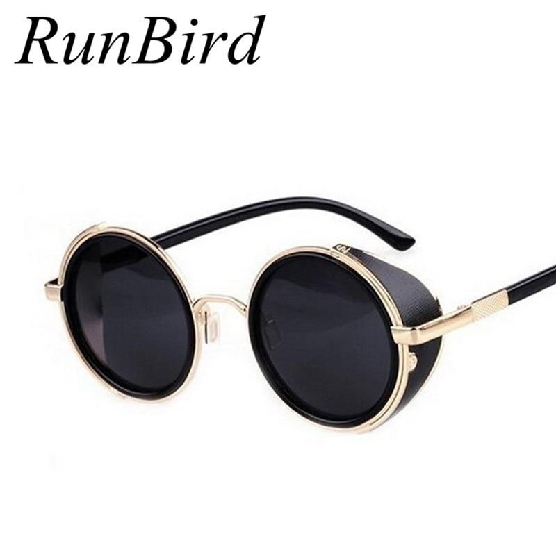 Neue Beschichtung Sunglass Steampunk Runde Mode Sonnenbrillen Frauen-marken-entwerfer Steam Punk Metall Sonnenbrille Männer Retro Oculos M027