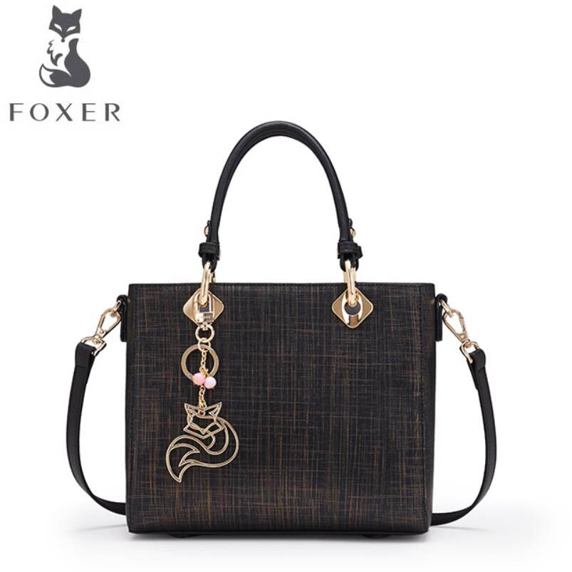 FOXER 2017 New quality women leather handbags women famous brands designer fashion tote bag women leather handbags chispaulo women genuine leather handbags cowhide patent famous brands designer handbags high quality tote bag bolsa tassel c165