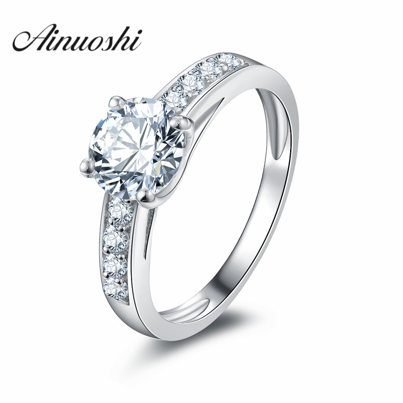 цена AINOUSHI Victoria Wieck Round Cut SONA nscd 925 Sterling Silver Women Engagement Wedding Band Ring Size 4-10 Best Gift