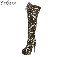 Sorbern/камуфляжные зеленые сапоги выше колена на платформе и высоком каблуке Подиум Модные женские зимние плюшевые ботиночки женская обувь н