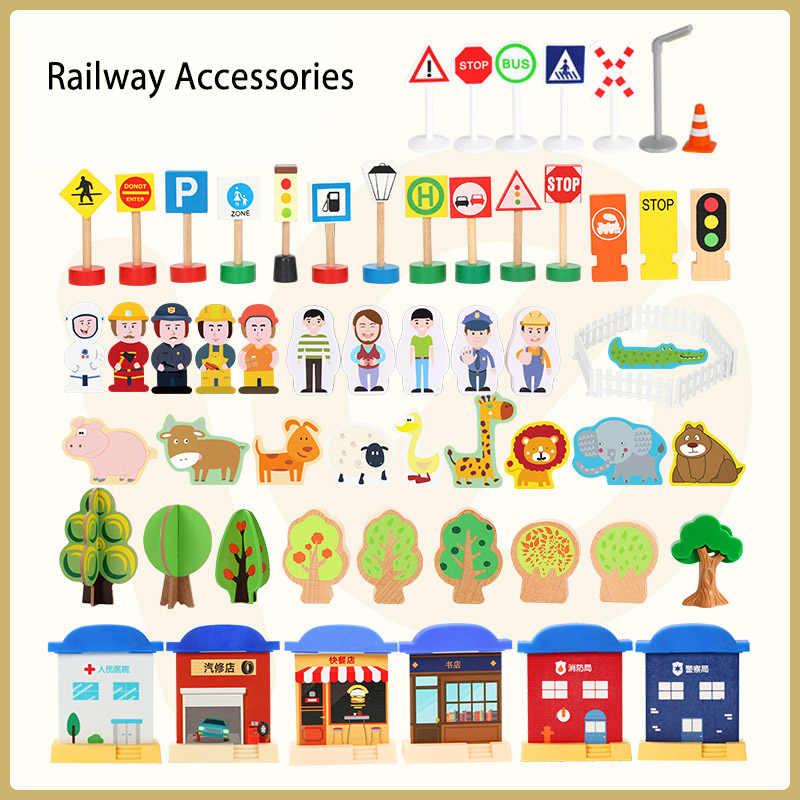 Kereta Kayu Trek Aksesoris Roadmarks Adegan Mainan Cocok untuk Kayu Jalur Kereta Api
