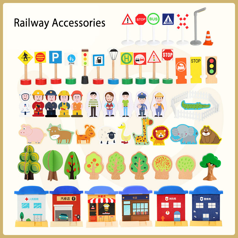 Wooden Train Tracks Accessories Roadmarks Scene Toys Fit For  Wooden Railway Track