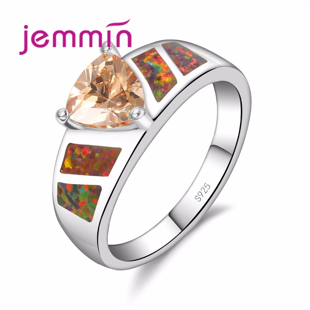 Širina oblikovanja barvit ognjeni opal obroč S925 Sterling obroč za luksuzne ženske prstan Bijoux s kristalčkom šampanjca