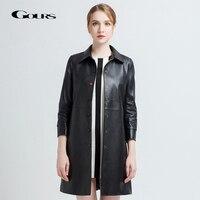 Gours Women's Genuine Leather Coats Female Fashion Black Long Slim Overcoat Ladies Windbreaker Sheepskin Jacket New Arrival 9003