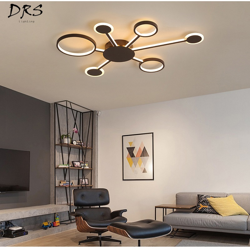 Ceiling Lights Lower Price with Nordic Led Ceiling Chandelier Lighting Brown Fashional Super Thin Modern For Living Room Circle Rings Led For Indoor Lighting Possessing Chinese Flavors Lights & Lighting