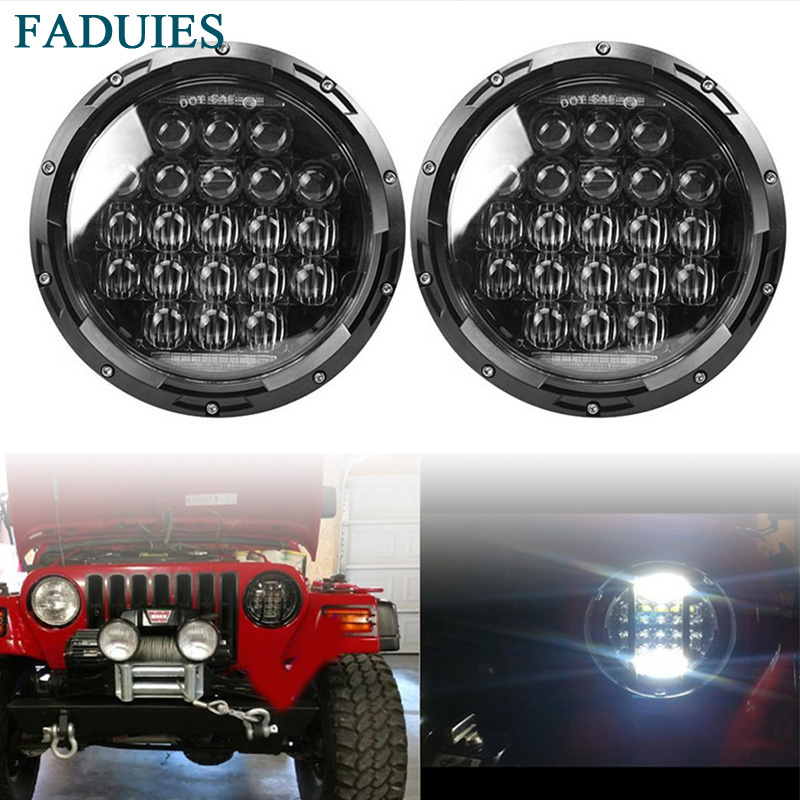 цена на FADUIES 75W 5D 7 inch Car Led Headlight 4x4 Off road Led H4 Hi/Lo Beam led Auto Headlight Kit for Jeep Wrangler JK CJ