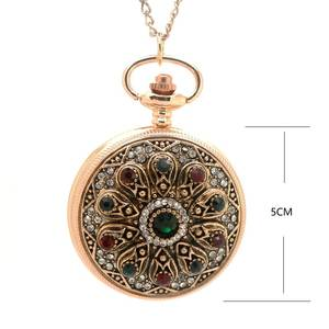 ozen 1147 gold Heart Vintage pocket watch Pendant Necklace