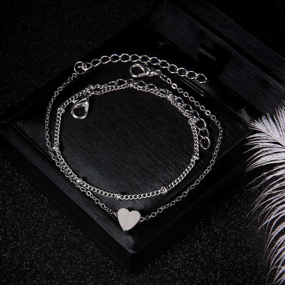 2-unids-set-Boho-mujeres-Multilayer-LOVE-Heart-pulsera-para-mujeres-oro-plata-Charm-brazalete-moda