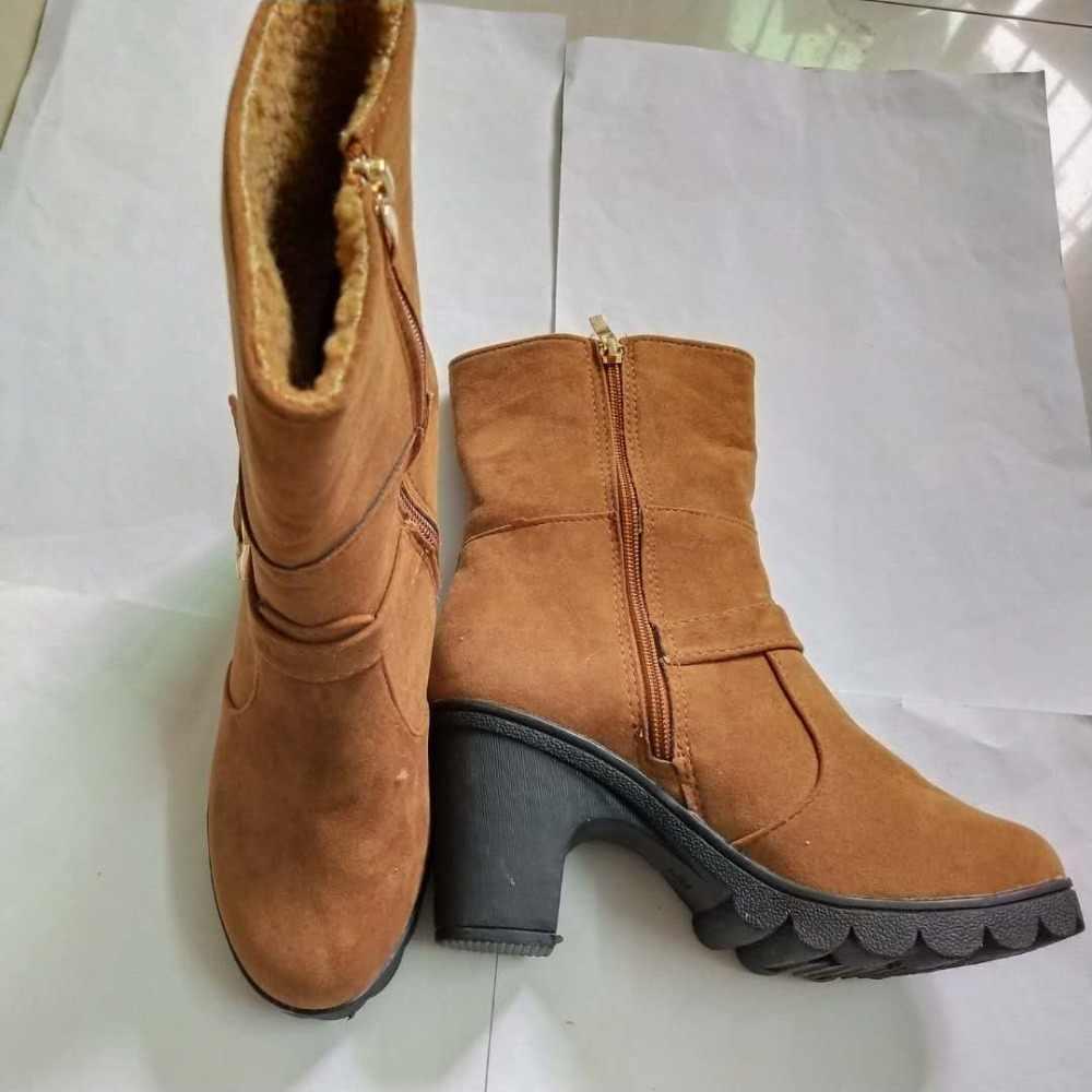 ผู้หญิงสบายๆปั๊มข้อเท้า Martin Boots รองเท้าฤดูใบไม้ร่วงฤดูหนาวผู้หญิงเซ็กซี่ส้นสูง Derss หิมะรองเท้าผู้หญิง Botas mujer