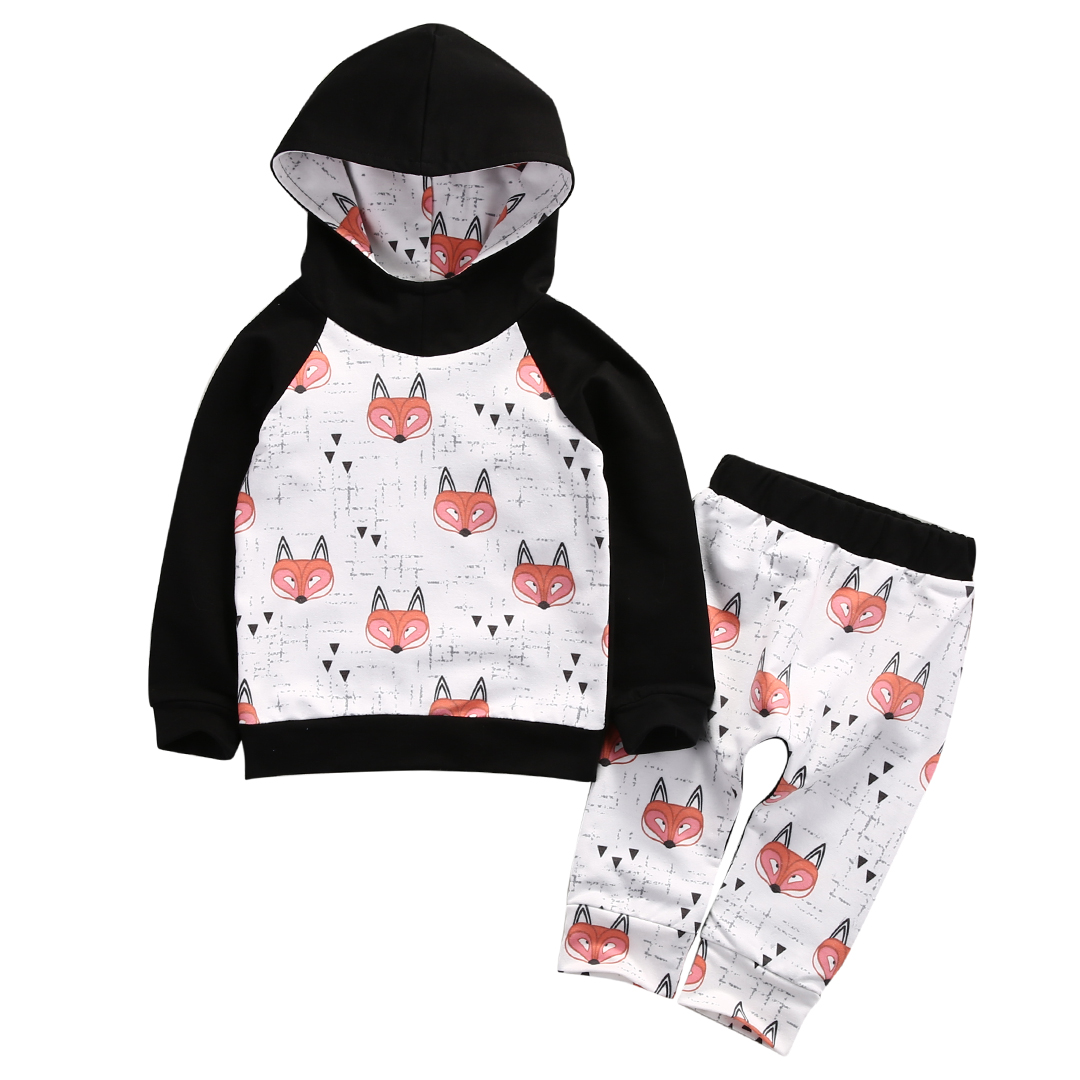 Spring Autumn Kids Toddler Baby Girl Boy Fox fox printing  Hoodies Sweatshirt Pants 2pcs Outfits Set
