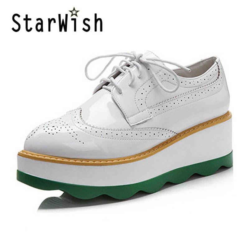 ФОТО Flat Platform Oxford Shoes For Women Carving Wedges Casual Creepers Ladies Brogue Shoes Woman Lace Up High Heels Oxfords Z134