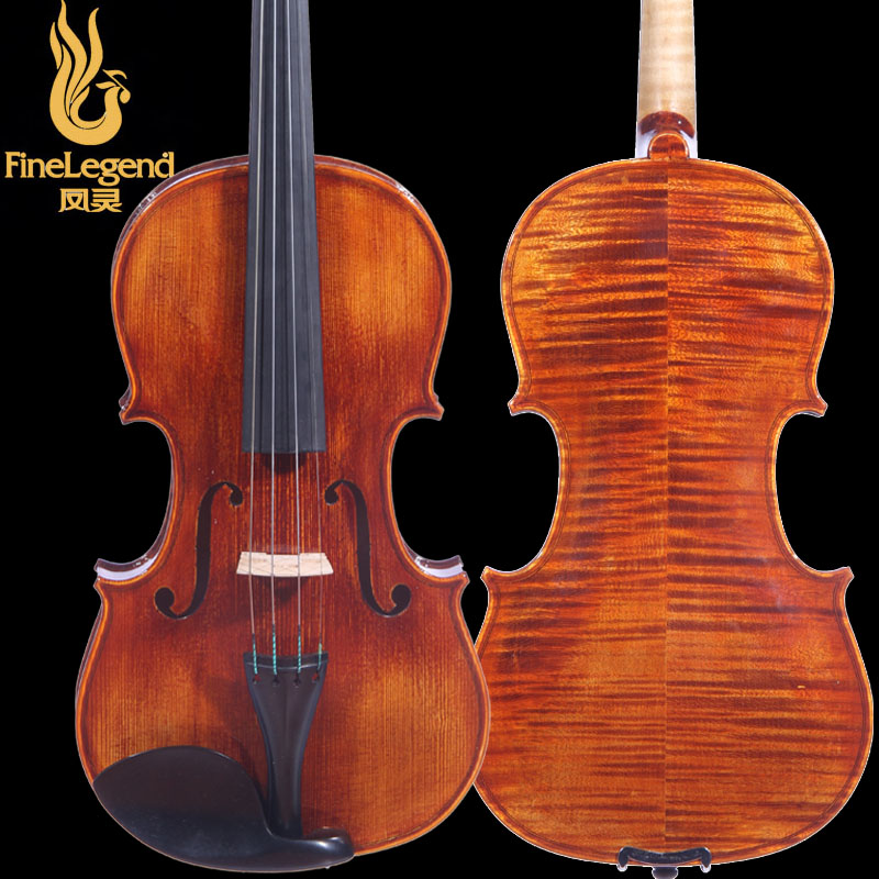 High Grade FineLegend 4/4 Full Size Handmade Alcoholic Paint Professional Violin Solid Spruce Flamed Maple with Bow Case LCV3113 free shipping 4 4 size 430c pernambuco cello bow high quality ebony frog with shield pattern white hair violin parts accessories