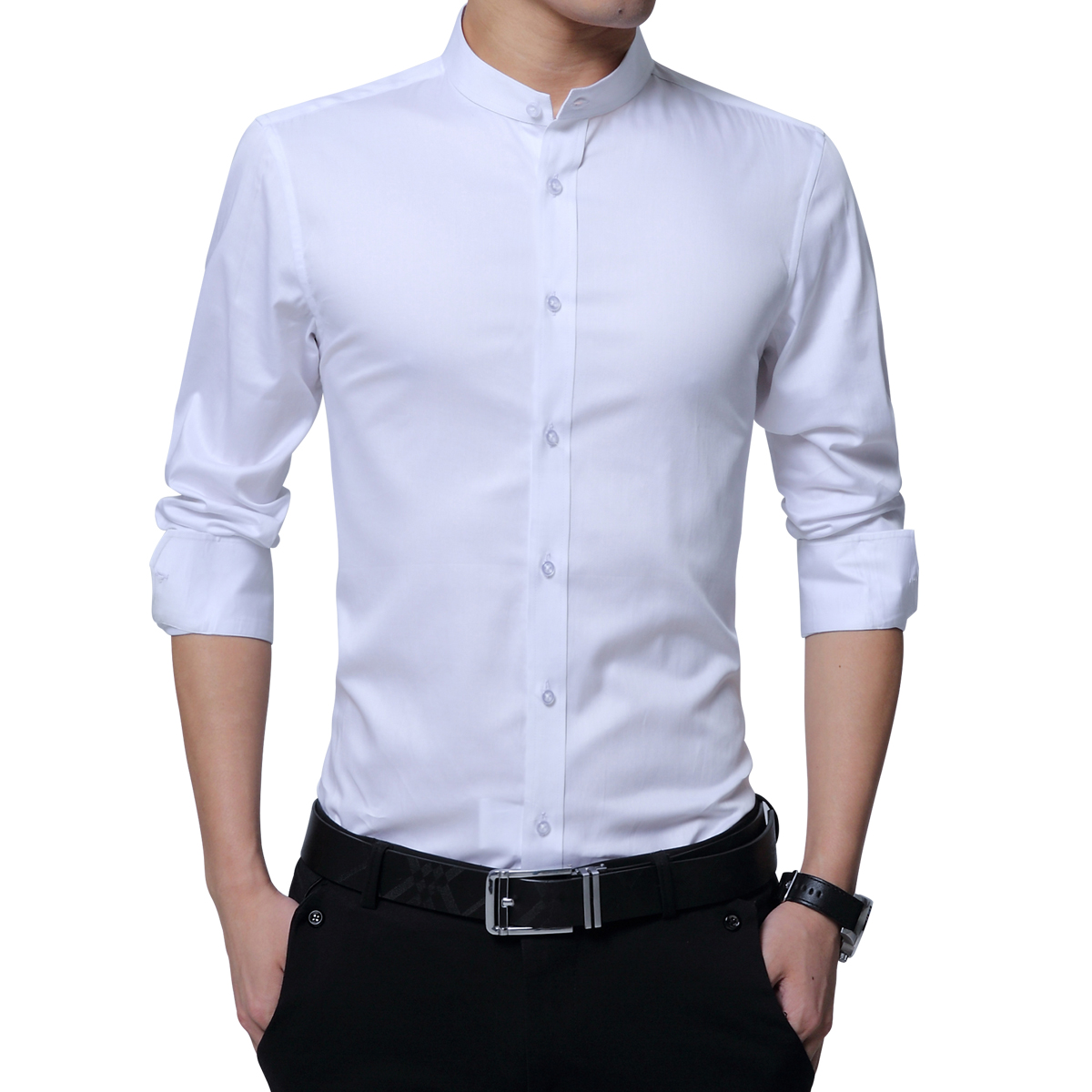 YUNCLOS Men Shirt Fashion Mens Casual Shirts Long Sleeve Slim Fit Grandad Collar Formal White Black Blue Tuxedo Shirts