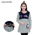 Fall Winter Stripe Cotton Nursing Top T shirt Pregnancy Clothes for Pregnant Women Breastfeeding Tops Clothing for Feeding