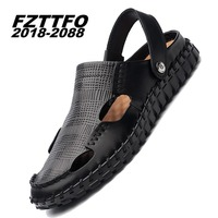 Size 38 45 Men S Summer Genuine Leather FZTTFO 2018 2088 Brand Casual Shoes Men Sandals