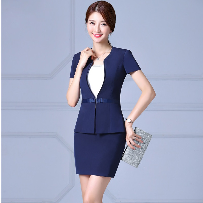 New Arrival Formal 2017 Summer Short Sleeve Blazers Suits With Tops And Skirt Professional Business Women Ladies Blazer Outfits