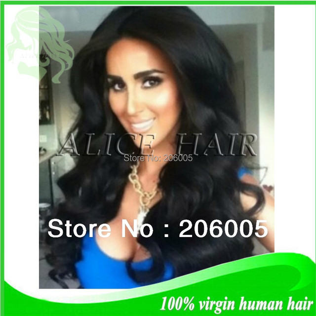 Heavy 180% density natural color instock brazilian virgin hair super wave glueless silk top full lace wigs free shipping