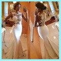 Lindo Sereia Vestidos de Baile 2017 Hot Sale Sexy Lace Branco Apliques Ruffles Até O Chão Vestido de Noite Para O Casamento Plus Size