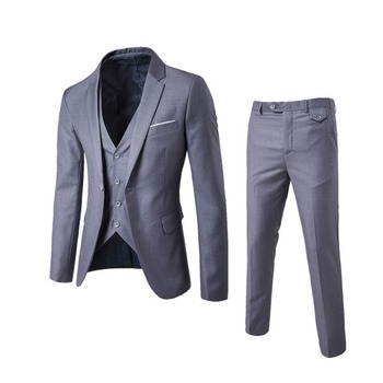 Business Casual Clothing Groomsman Three-piece Suit Blazers Jacket Pants Trousers Vest Sets