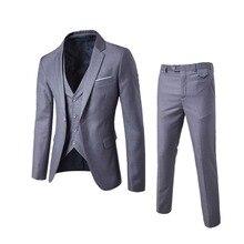 2019 мужские модные тонкие костюмы мужская деловая повседневная одежда дружка костюм из трех предметов пиджаки куртка брюки жилет наборы