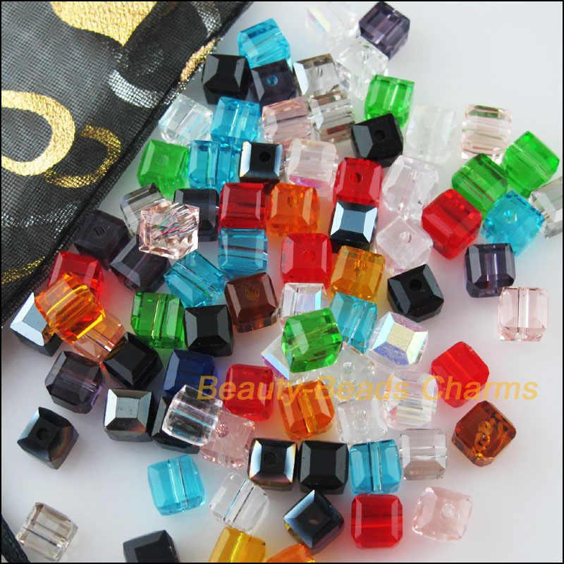 50Pcs หลวม Cube สแควร์แก้วคริสตัล Spacer ลูกปัด Charms ผสม 4 มม.