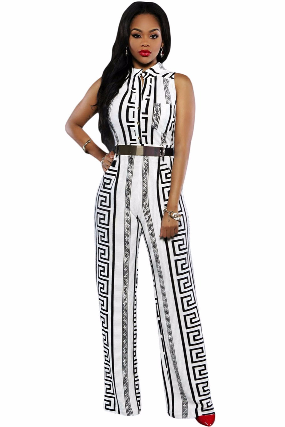 Fashion Long Jumpsuits For Women Plus Size XXXL Black/White Print Gold Belted Jumpsuit Fashion Sexy V-Neck For Ladies Playsuit
