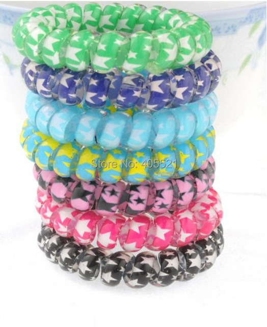 Star printing design Telephone Wire Hair band Bracelet stretch Cord ...
