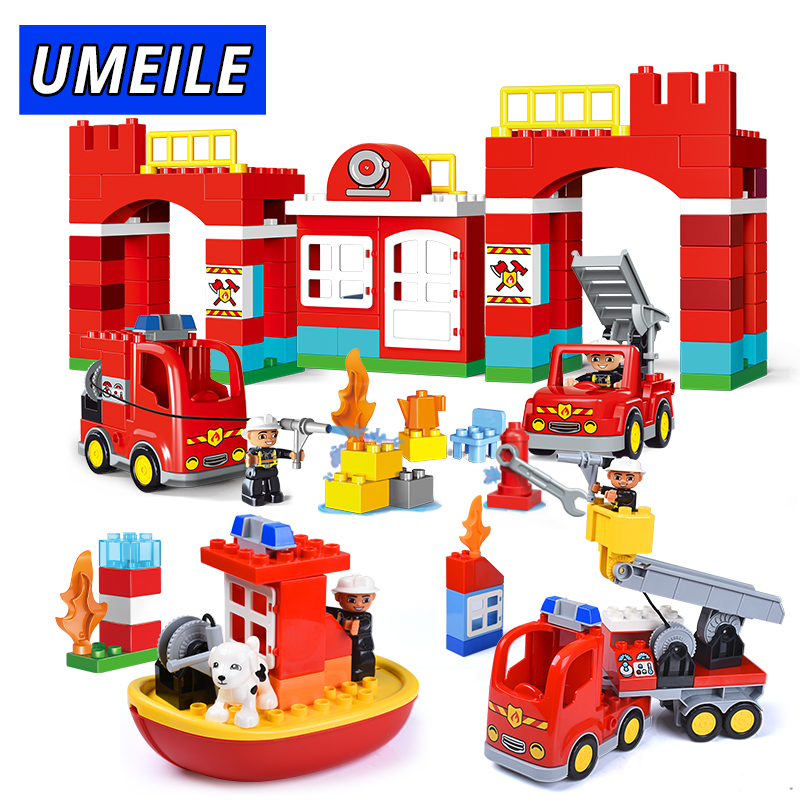 UMEILE Brand City Fire Fighting Building Block Fireman Figure Model Fire Engine Brick Set Compatible With Legoing Duplo qwz 60 90pcs city fire station fire engine duplo large size building blocks fireman figures compatible with duplo for kids toys