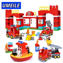 UMEILE Brand City Fire Fighting Building Block Fireman Figure Model Fire Engine Brick Set Compatible With Duplo
