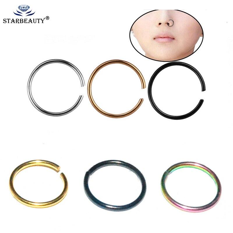 Körper Schmuck PüNktlich 2 Stücke 0,8*8mm Nase Ring Gold Silber Schwarz Chirurgische Stahl Einstellbar Durch Hand Nahtlose Nase Hoop Ring Körper Piercing Schmuck