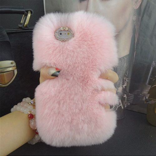 LaMaDiaa Fashion Luxury Warm Soft Rabbit Fur Skin Case Cover For Samsung Galaxy S10 S20 S9 S8 Plus Note 10 9 8 PLUS Θήκη