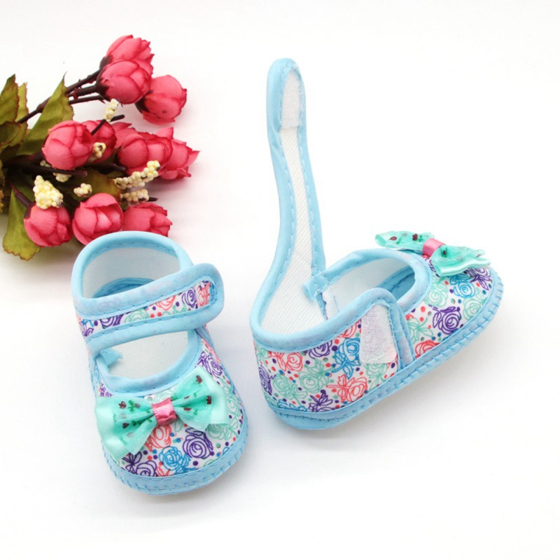 Summer Newborn Baby Girl Breathable Anti-Slip Floral Bow Shoes Casual Sneakers Toddler Soft Soled First Walkers 0-18M