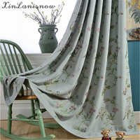 High Grade Garden Style Cotton Grey Embroidered Linen Curtains For Living Dining Room Bedroom