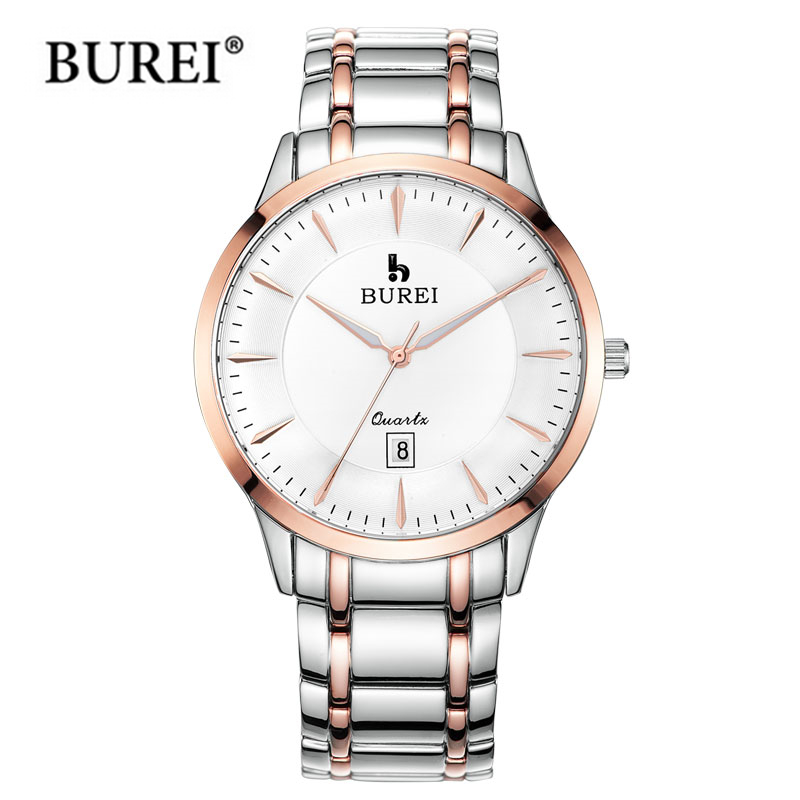 BUREI Brand lovers Watch Luxury men Quartz Wristwatch women Casual Business Watches stainless steel Casual clock hours relogio new arrival 2015 brand quartz men casual watches v6 wristwatch stainless steel clock fashion hours affordable gift