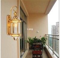 Outdoor Brass Wall Lamp American Design Glass Wall Sconce D20cm H40cm Brass Material Wall Lighting Lamp Wall Brackets Lights