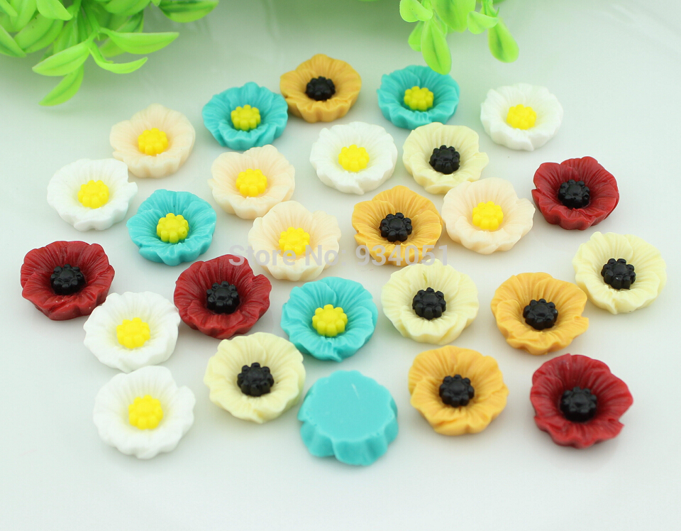 Set of 100pcs Resin Artificial Flower Flatback Embellishment Chic Poppy Flower Cabochons Cab 19mm Free Shipping