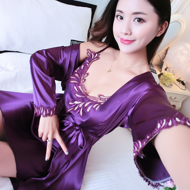 New Purple Twinset Robe Set Sexy Sleepwear Lace Nightgown Women's Intimate Lingerie Satin Kimono Bathrobe Gown Home Clothes