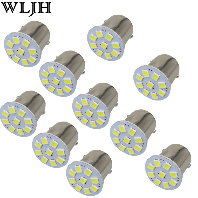 WLJH 10x 24V Led 1156 BA15S P21W 1157 3528 External Light Car Truck Trailer RV Brake Reverse Backup Lights Turn Signal Lamp Bulb 3157 3156 80w 900lm 16 led white car brake light steering backup lamp 12 24v