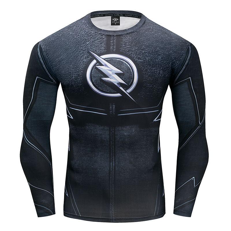 2017 New Fitness Compression Shirt Men Flash Captain America Bodybuilding Long Sleeve 3D Print T Shirt Crossfit Tops Shirts